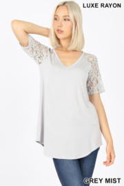Beleza Shoppe Grey Mist Rayon Lace V Neck Top - Product Mini Image