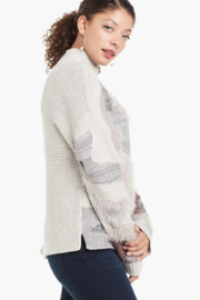 Nic +Zoe Grey Floral print turtleneck sweater - Side cropped