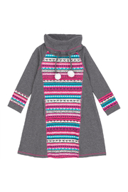 Deux Par Deux Grey & Multicolor Striped Dress With Pompoms - Product Mini Image
