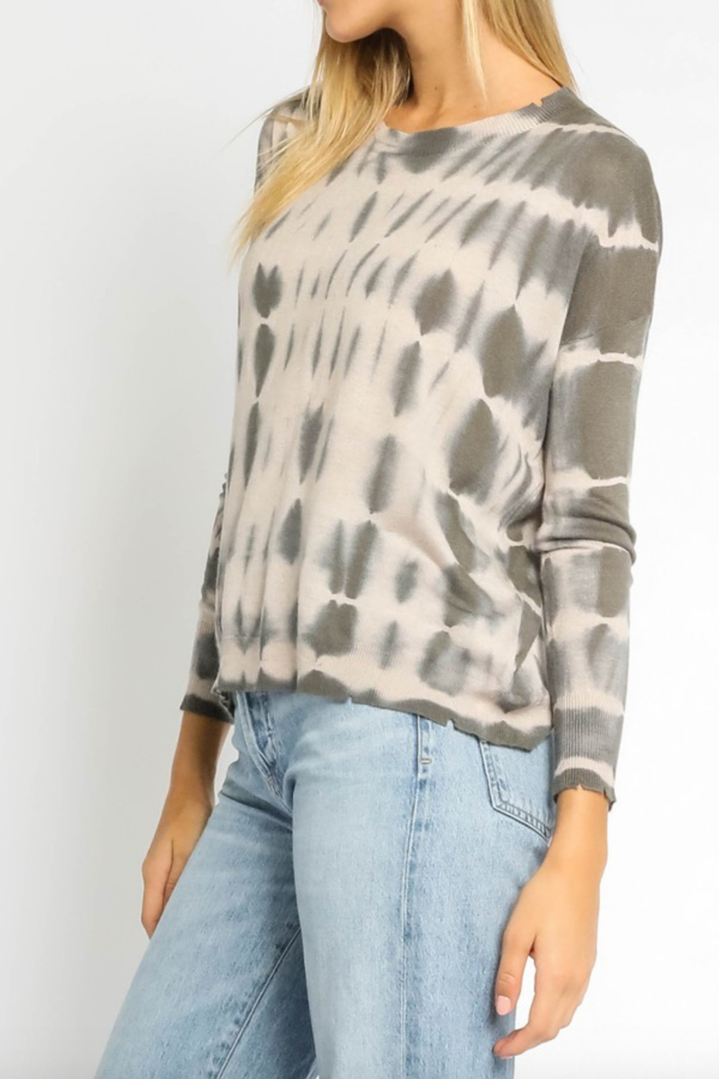 Olivaceous  Grey & Nude Tiedye Sweater - Front Full Image