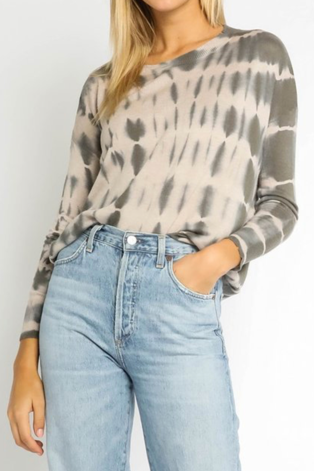 Olivaceous  Grey & Nude Tiedye Sweater - Main Image