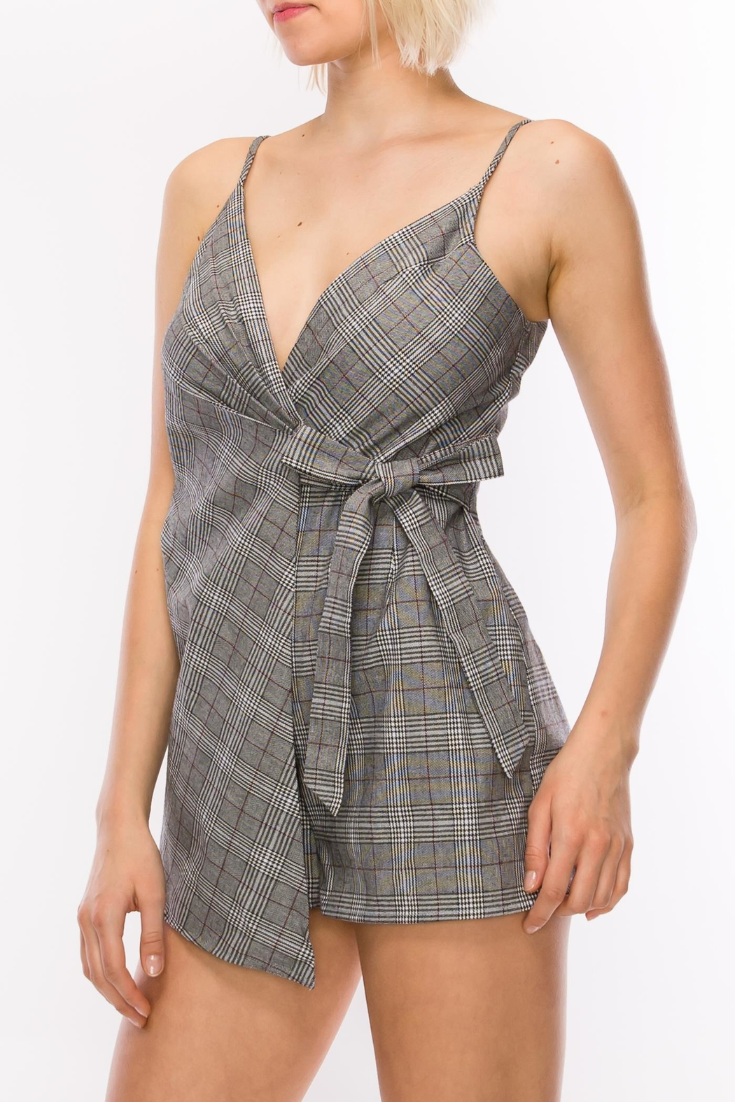 Favlux Grey Plaid Romper - Front Full Image