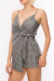 Favlux Grey Plaid Romper - Front full body
