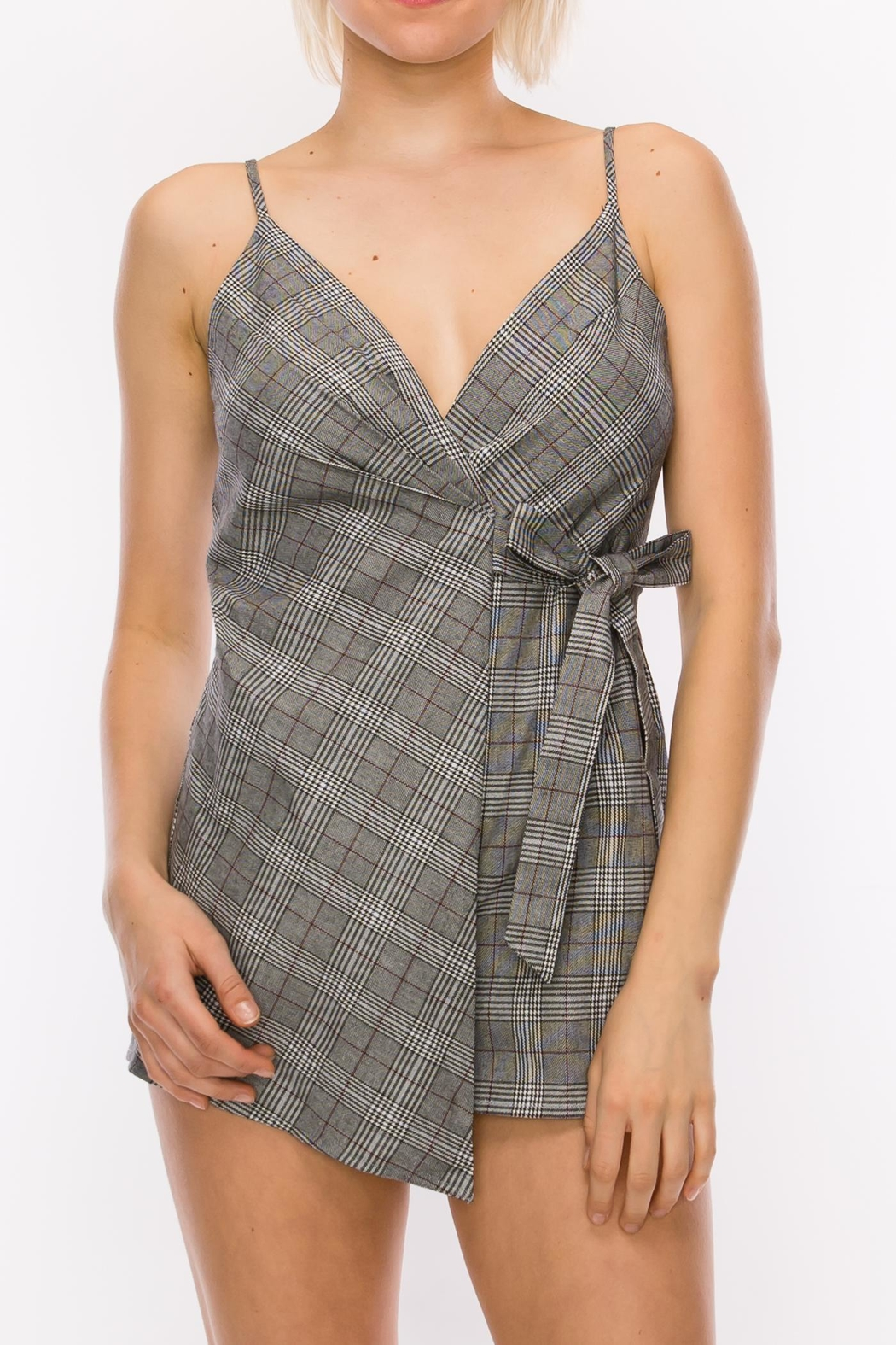 Favlux Grey Plaid Romper - Front Cropped Image