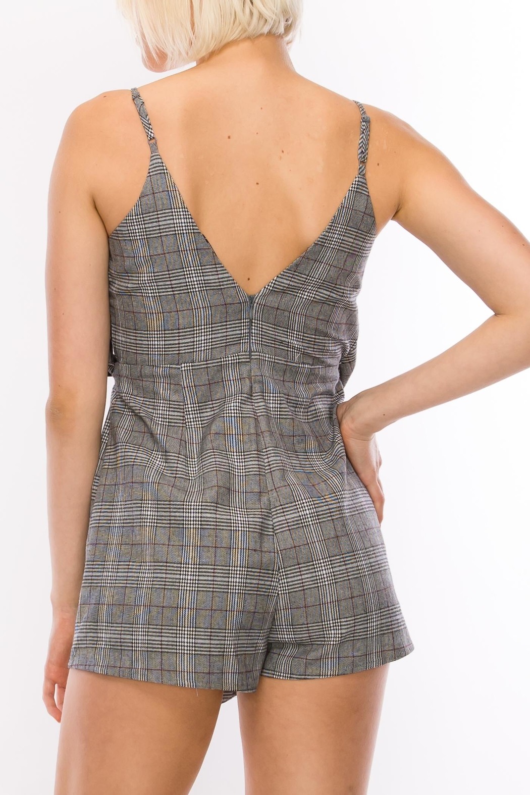 Favlux Grey Plaid Romper - Side Cropped Image