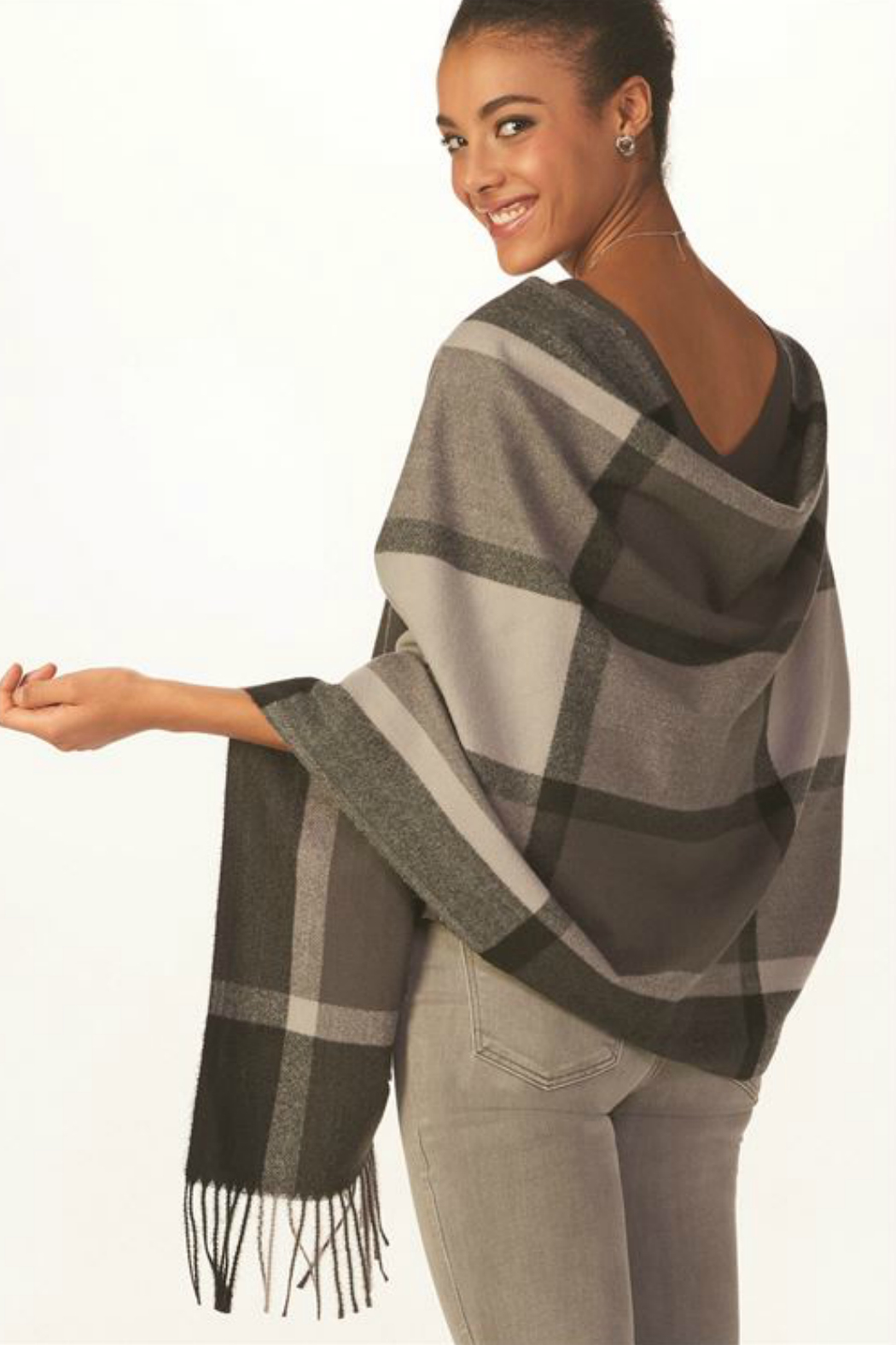 Gift Craft Grey Plaid Scarf - Front Full Image