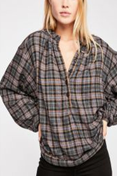 Free People Grey Plaid Top - Alternate List Image