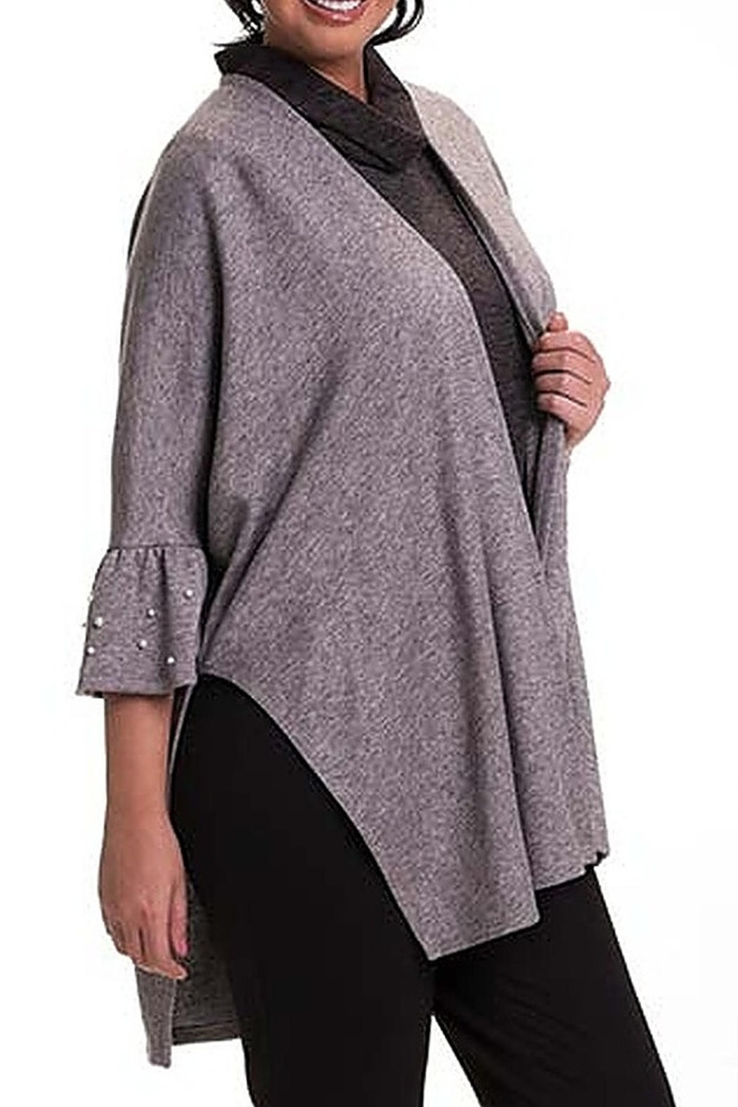 Bali Corp. Grey Poncho Cape Sweater - Front Cropped Image