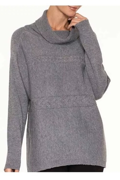 Alison Sheri  Grey Ribbed Cowl Neck Sweater - Alternate List Image