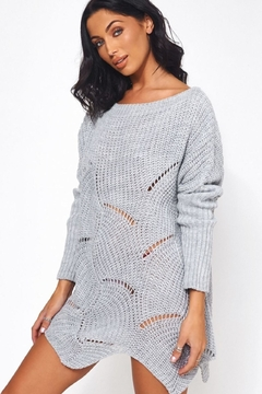 Urban Touch Grey Ribbedsleeve Jumper - Product List Image