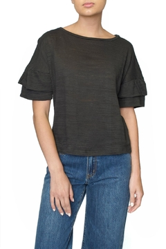 4our Dreamers Grey Ruffle Tee - Product List Image