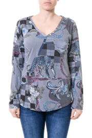 Angela Mara Grey Scarf Print Top - Product Mini Image