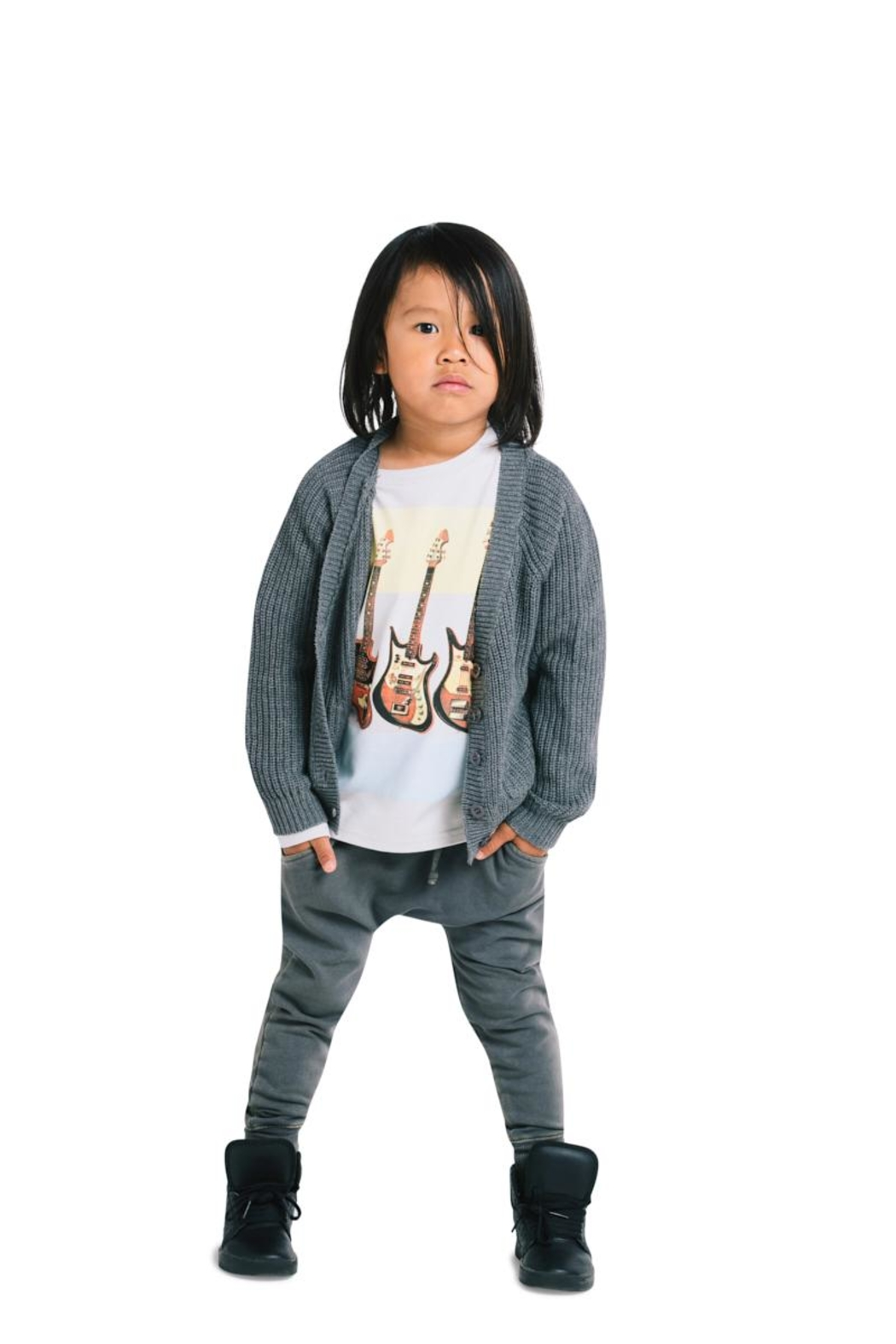 Rock Your Baby Grey Slouch Cardigan - Side Cropped Image