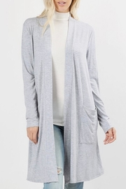 Zenana Outfitters Grey Slouchy-Pocket Cardigan - Product Mini Image