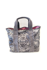 Equipt4U Grey Snow Leopard Tote (Pink Lining) - Front cropped