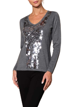 Elena Wang  Grey Sparkle Sweater - Product List Image