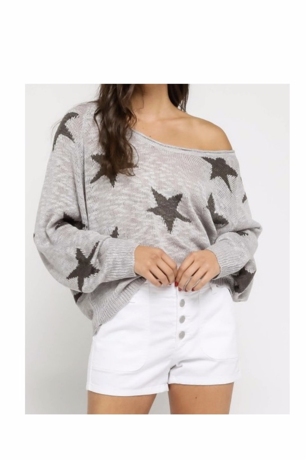 Olivaceous Grey Star Sweater - Main Image