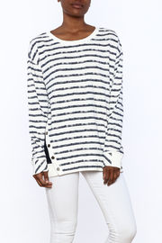 Grey State Chalk Stripe Tunic Sweater - Front cropped