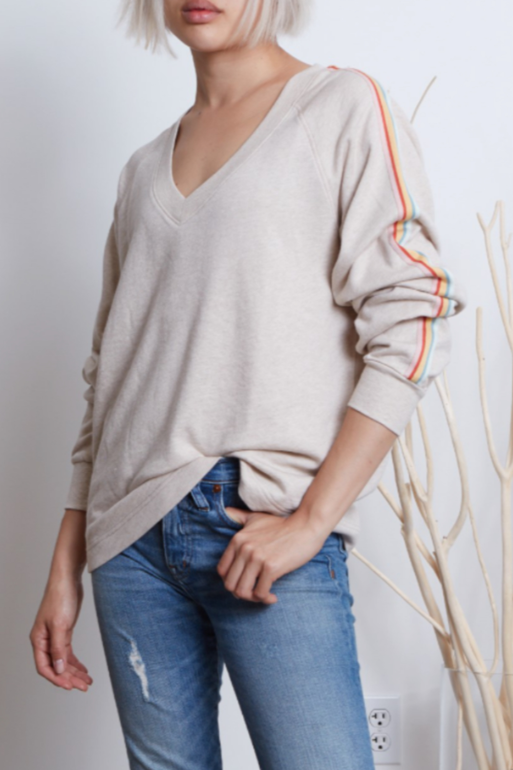 Grey Slate Grey State Oatmeal Marci V Neck Pullover with stripe tape running down the side of the arms - Front Full Image