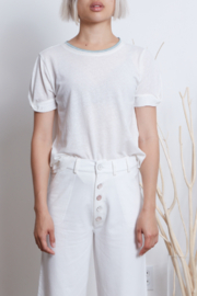 Grey Slate Grey State White Seri Tee with crochet trim around the neckline - Front cropped