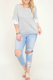 She + Sky Grey Stripe Knit Top with Trim Lace Detail - Front cropped