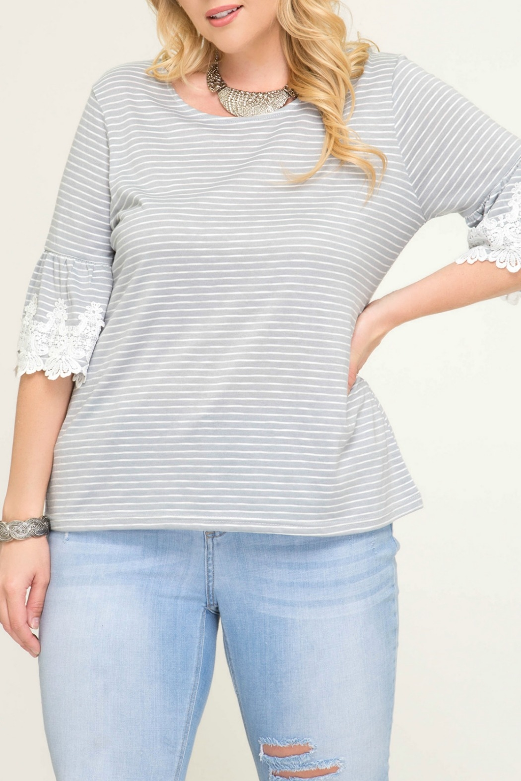 She + Sky Grey Stripe Knit Top with Trim Lace Detail - Front Full Image