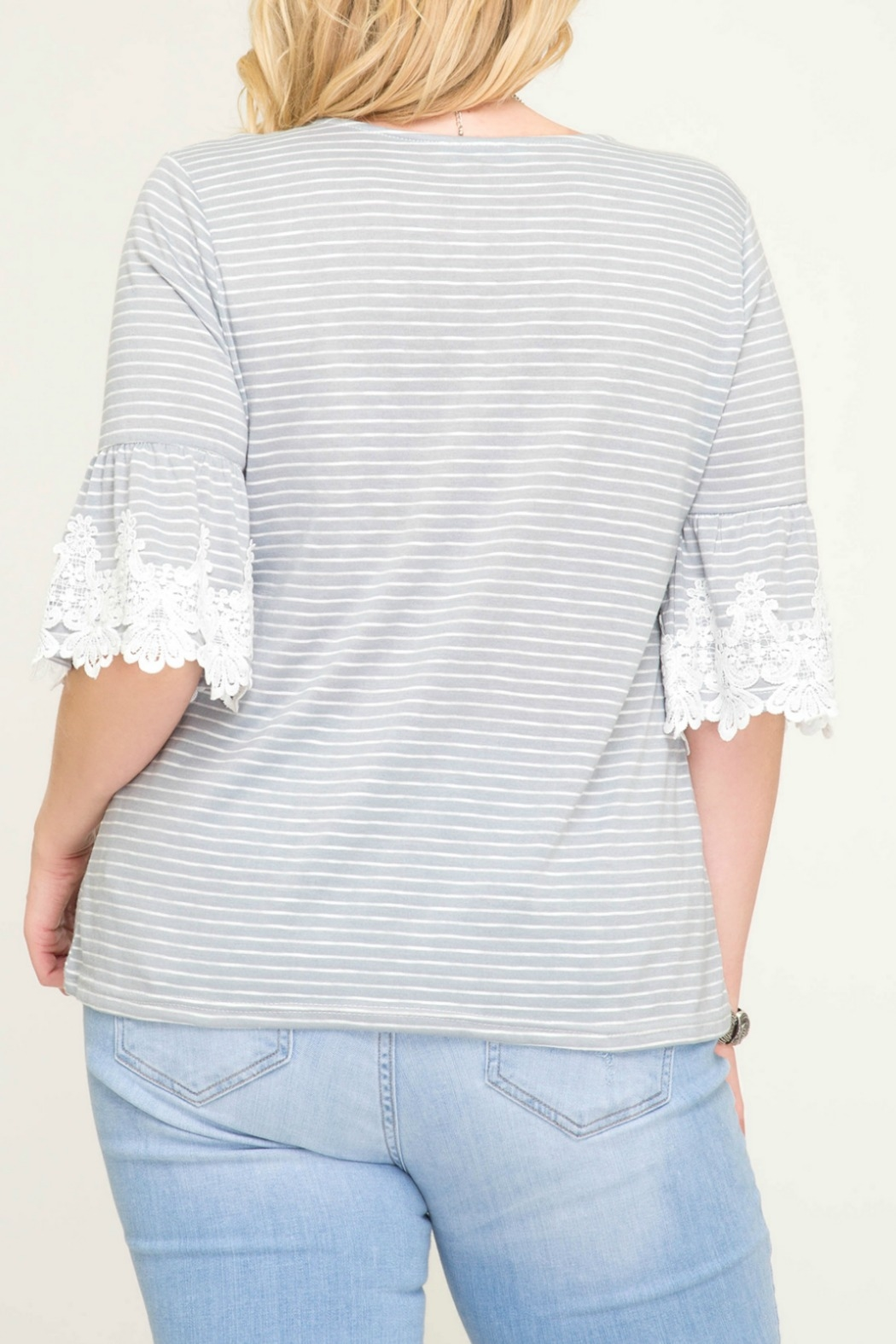 She + Sky Grey Stripe Knit Top with Trim Lace Detail - Back Cropped Image