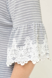 She + Sky Grey Stripe Knit Top with Trim Lace Detail - Side cropped