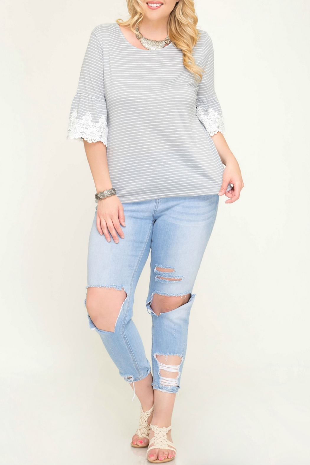 She + Sky Grey Stripe Knit Top with Trim Lace Detail - Main Image