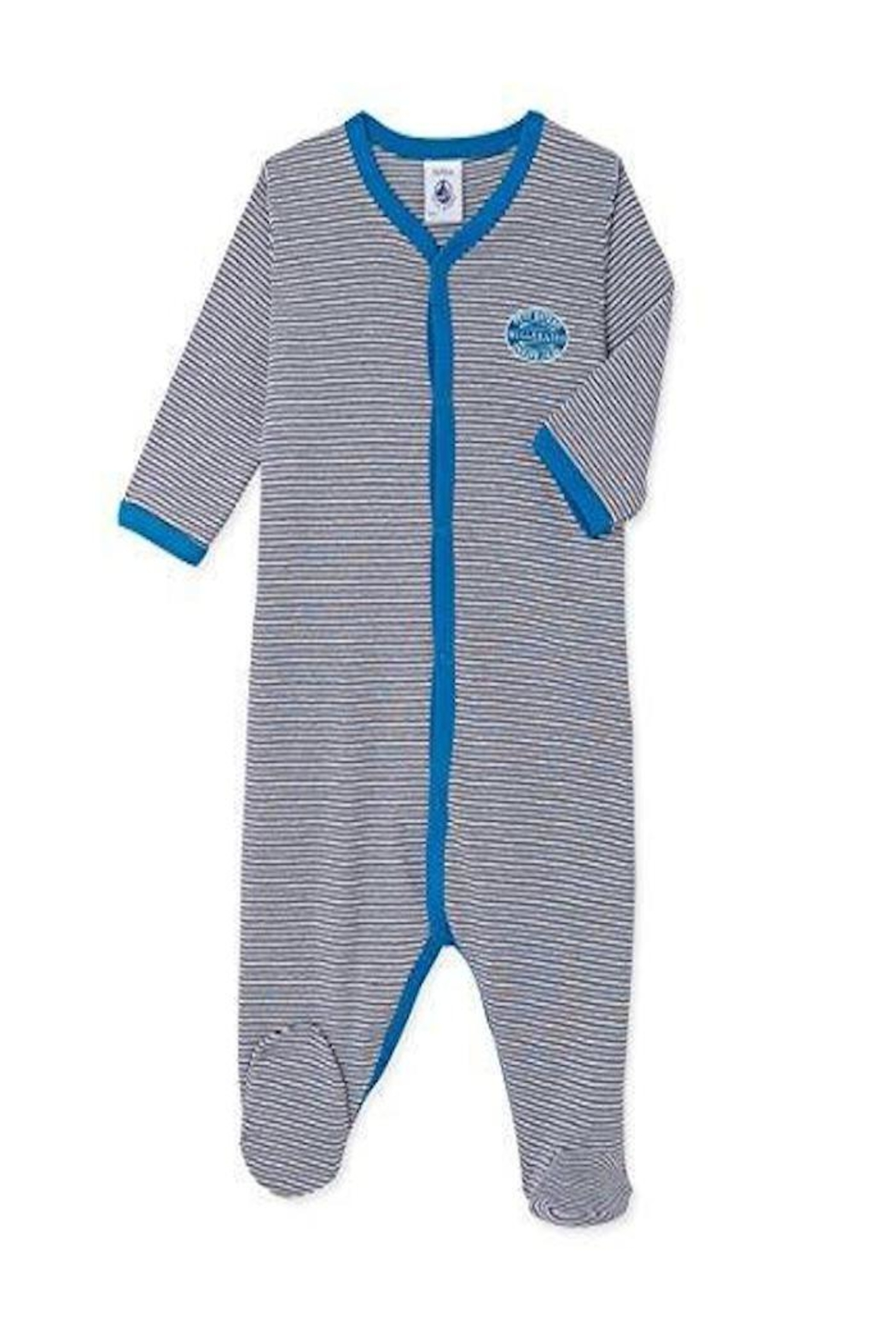 petit bateau Grey Stripe Onesie - Front Cropped Image