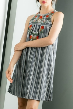 Shoptiques Product: Grey Stripe Sleeveless Dress With Embroidery