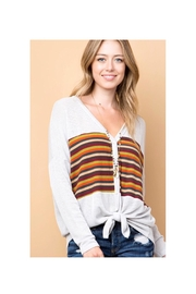 Polly & Esther Grey Stripe Sweater - Product Mini Image