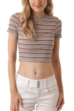 Shoptiques Product: Grey Striped Crop-Top