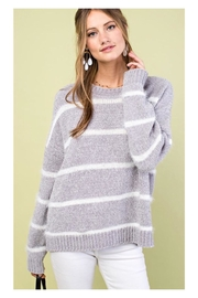 Polly & Esther Grey Striped Sweater - Product Mini Image