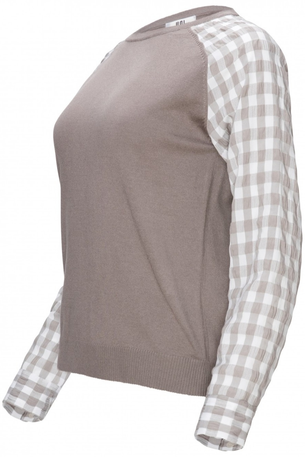Yal NY Grey sweater with grey/white checkered sleeve - Front Full Image