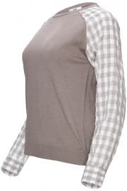 Yal NY Grey sweater with grey/white checkered sleeve - Front full body