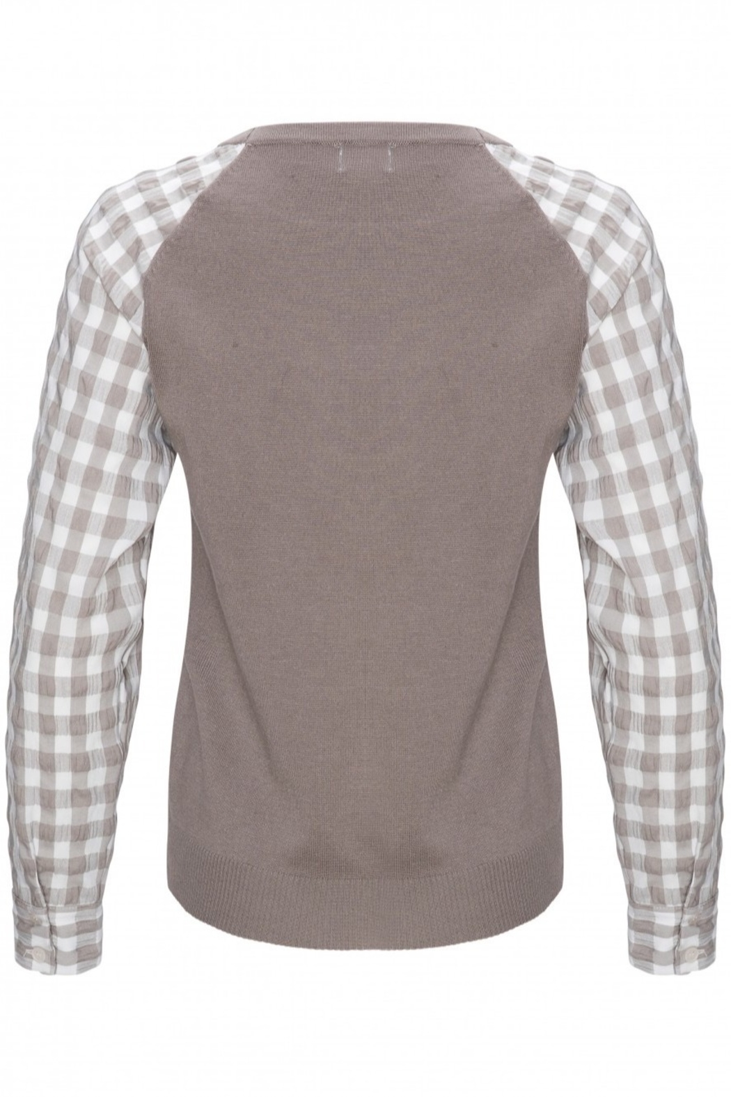 Yal NY Grey sweater with grey/white checkered sleeve - Side Cropped Image