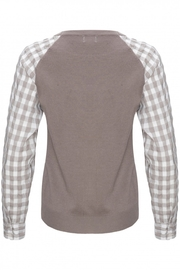Yal NY Grey sweater with grey/white checkered sleeve - Side cropped