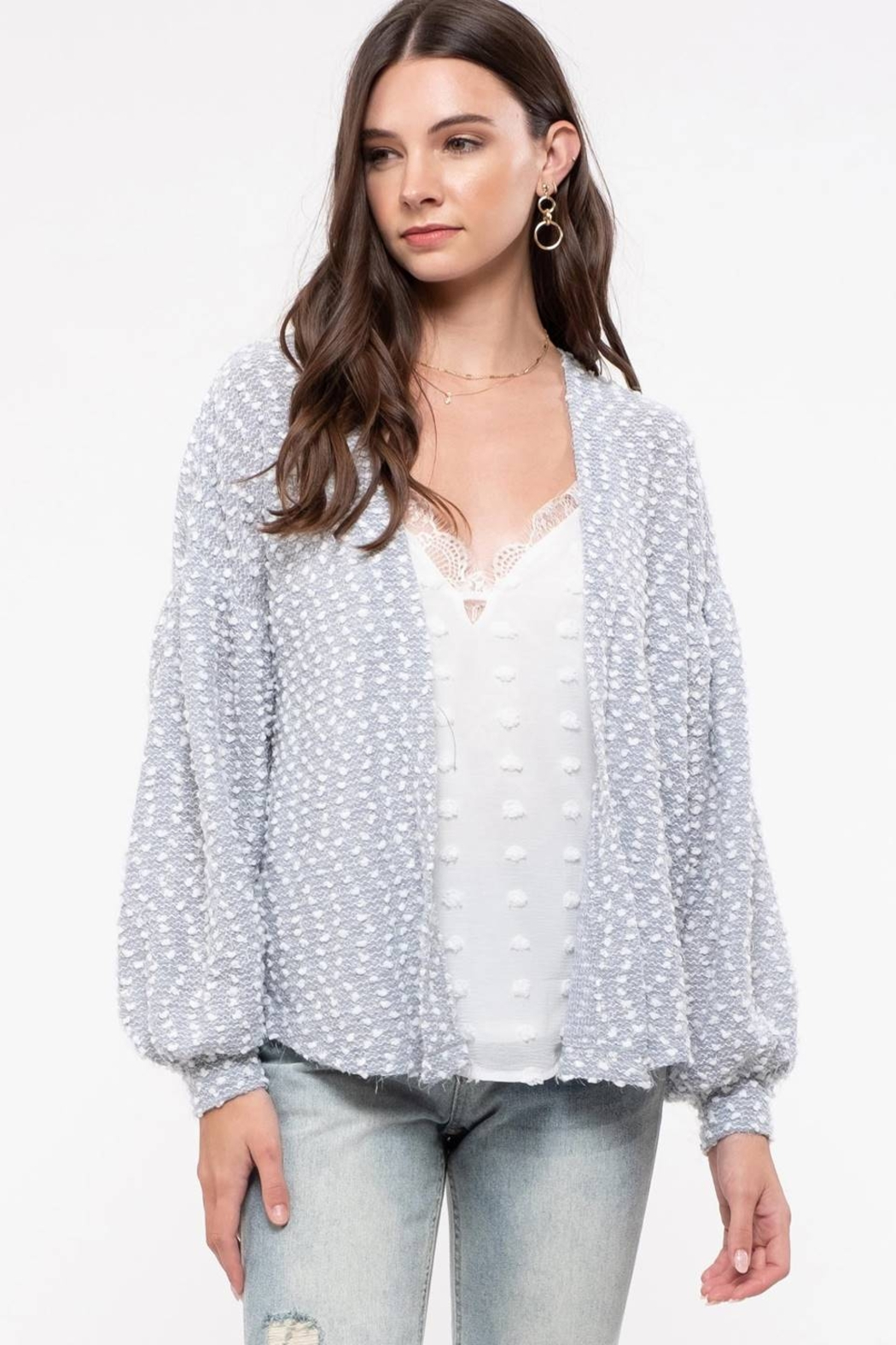 blu Pepper  Grey Swiss Dot Knit Cardigan - Front Cropped Image