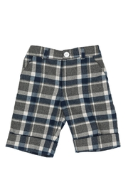 Malvi & Co. Grey Tartan Shorts. - Front cropped