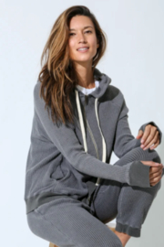 Electric Rose Grey Thermal Hoodie - Front cropped