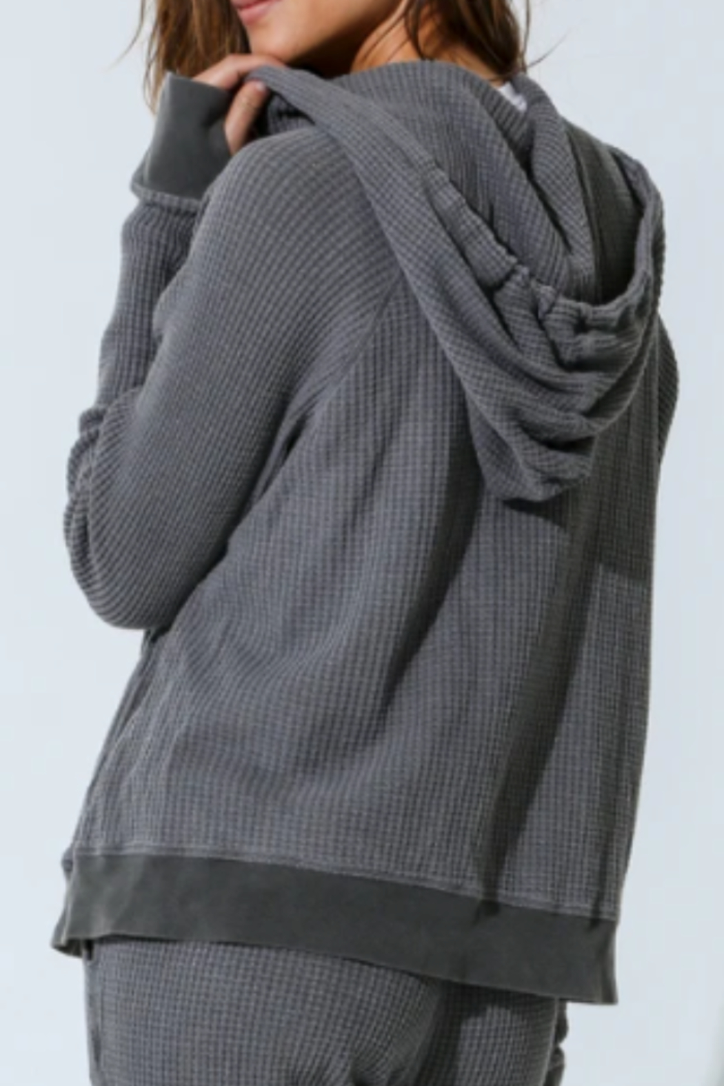 Electric Rose Grey Thermal Hoodie - Front Full Image