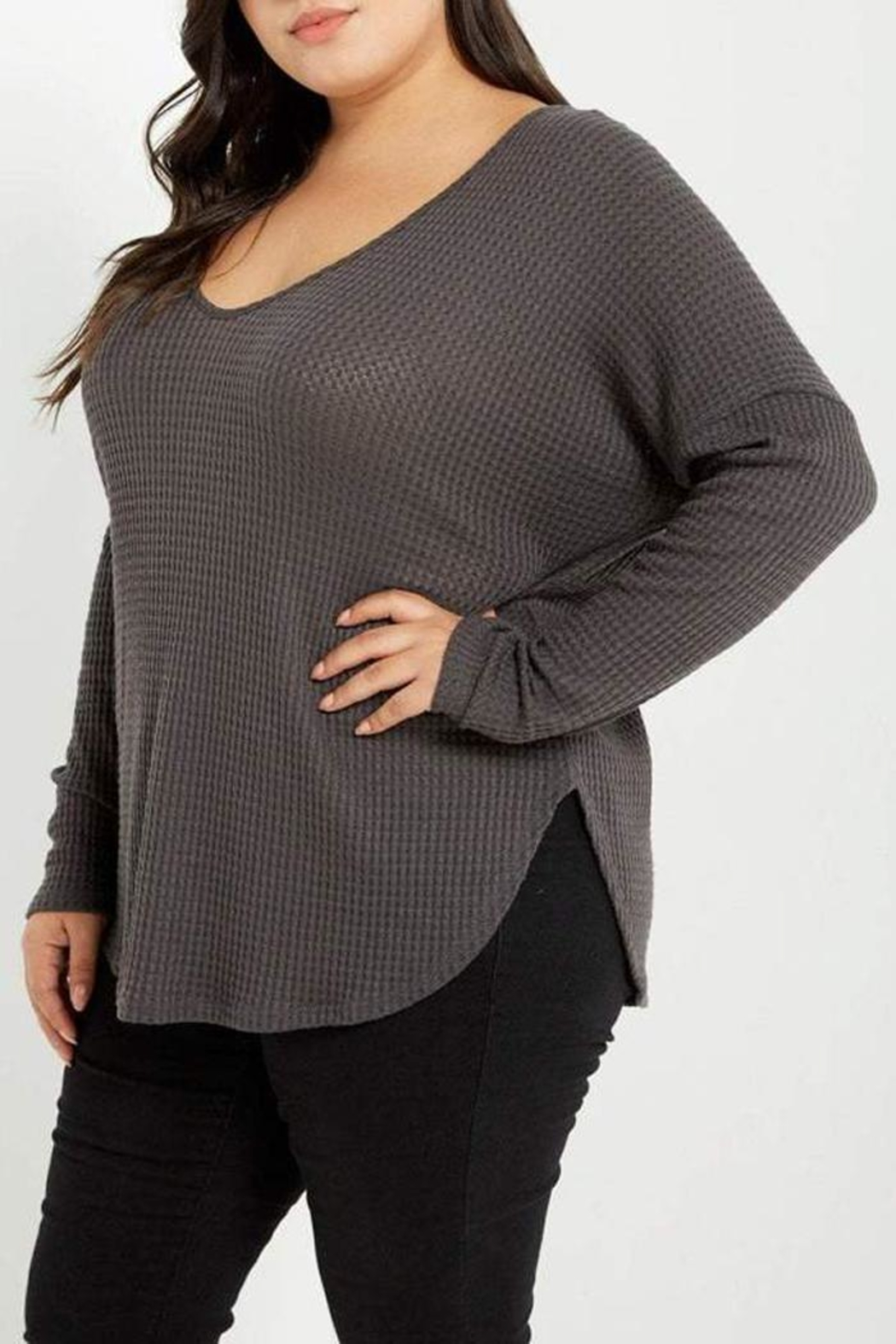 MaiTai Grey Thermal Top - Side Cropped Image