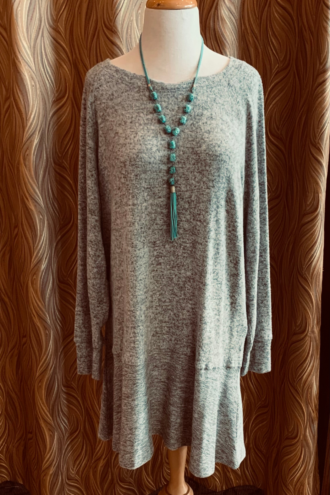 Charlie Paige Grey Tunic Dress - Front Cropped Image