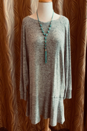 Charlie Paige Grey Tunic Dress - Front cropped