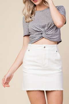 Shoptiques Product: Grey Twist-Front Crop-Top