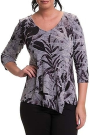 Bali Corp. Grey V-Neck Floral Sweater - Product Mini Image