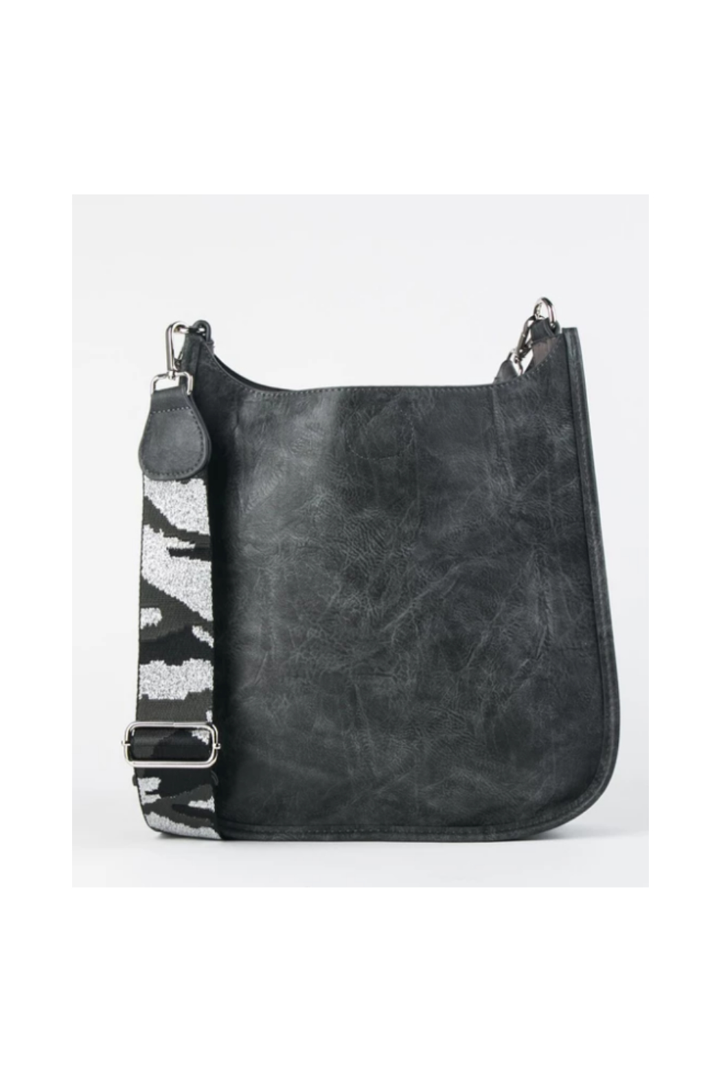 Ah!dorned Grey Vegan Messenger With Silver Camo Strap - Front Full Image