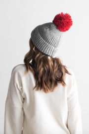 Gigi Pip Grey with Red Red Pom - Front full body