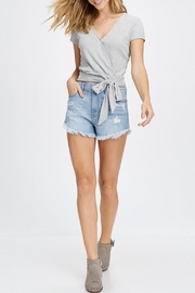 Maronie  Grey Wrap Top - Front cropped